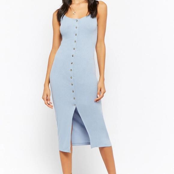 87f73923b4 Forever 21 Dresses | Buttondown Ribbed Cami Midi Dress | Poshmark